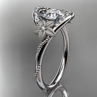 14kt white gold diamond unique engagement by anjaysdesigns on Etsy
