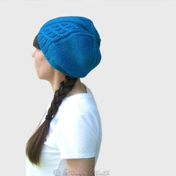 Turquoise slouchy hat hand knit blue beanie gift for women teen