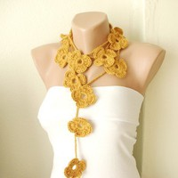 Handmade Crochet Saffron Alpaca Flower Lariat Scarf Necklace | moonfairy - Accessories on ArtFire