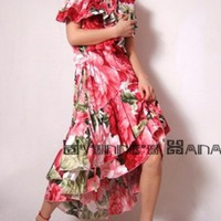 Red White Floral Cotton Flounces Ruffles Spring Dress Free Shipping | yystudio - Clothing on ArtFire
