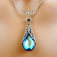 Blue Crystal Necklace Victorian Vintage by Fineartreflections on Etsy $30.00