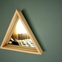 Triangle Mirror // Maple Wood // Geometric Wall Hanging // Modern Decor