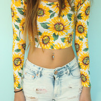 Long Sleeve Sunflower Crop Top