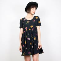 Vintage 90s Dress Babydoll Dress Mini Dress Black Daisy Floral Print Dolly Dress 1990s Dress Soft Grunge Dress Boho Lolita S Small M Medium