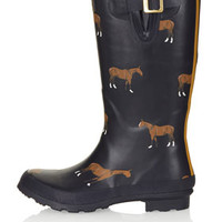 JOULES HORSE PRINT WELLIES