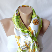 Summer Dream Satin Scarf Light green yellow white orange by Periay