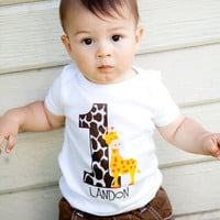 Personalized Giraffe Birthday Party Number by CutiesTieDyeBoutique