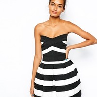 River Island Stripe Bandeau Prom Dress