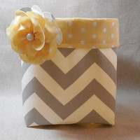 Gorgeous Gray Chevron Basket With Yellow Polka Dot Liner and Detachable Fabric Flower Pin