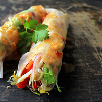 Shecaneatclean — Dinner: Fresh spring rolls - chicken. Rice paper,...