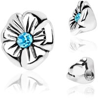 925 Sterling Silver Aqua Gem Flower Internally Threaded Dermal Top | Body Candy Body Jewelry