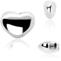 925 Sterling Silver Heart Internally Threaded Dermal Top | Body Candy Body Jewelry