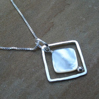 Pendant Necklace Sterling Silver White Pendant by ZorroPlateado