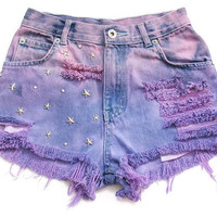 High waist jean shorts XXS by deathdiscolovesyou on Etsy
