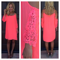 Neon Coral Off Shoulder Bonita Dress