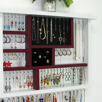 Wall Jewelry Box in White and Cranberry with silver toned hooks and ring storage