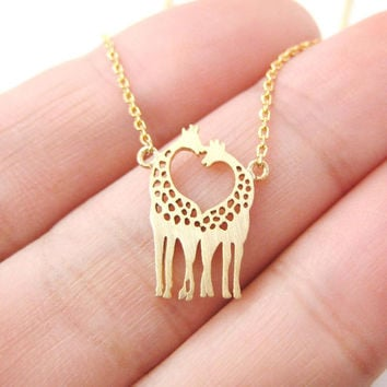 Love giraffe necklace, cute giraffe pendant necklace, dainty and chic everyday necklace, simple jewelry - gold / silver