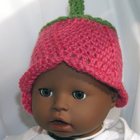 Pink Green Baby flower hat size 03 months by staceyLynnCreates