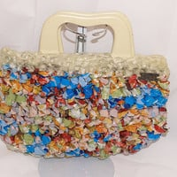 clutch made from recycled bags and shower by staceyLynnCreates