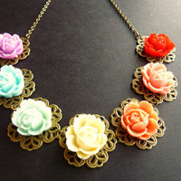Flower Vintage Necklace Rose Garden Bib Bouquet by Dewdropsdreams
