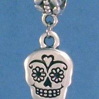Sugar Skull Day of the Dead Silver Charms Pandora Chamilia Zable Traditional | OrrWhat - Jewelry on ArtFire