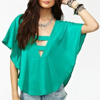 Plunging Batwing Top - Jade in  What's New at Nasty Gal