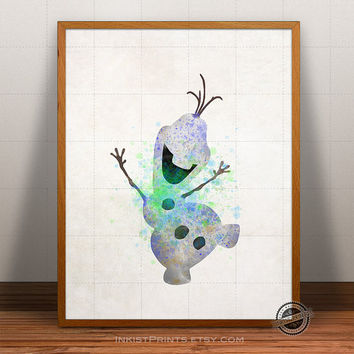 Frozen Print Watercolor, Olaf Poster, Disney Art, Illustration, Giclee Frozen Wall Art, Kid Artwork, Comic, Fine, Home Decor