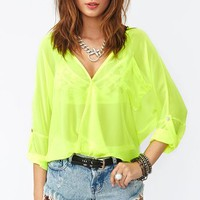 Neon Wrap Blouse - Yellow in  What&#x27;s New at Nasty Gal