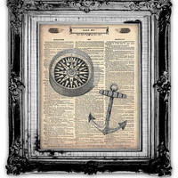 COMPASS ANCHOR OCEAN Dictionary Art Print by FoxHunterStudios