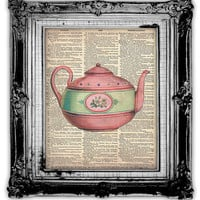 TEA KETTLE DICTIONARY Art Print Antique by FoxHunterStudios