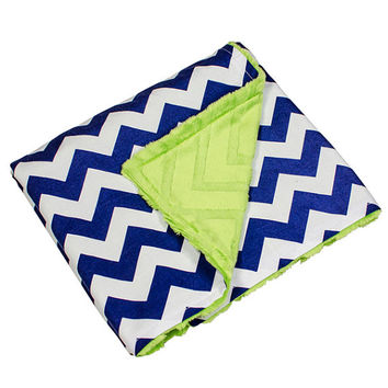 "Minky Cuddle Blanket 30"" x 35"" -- Personalized Option Available -- Navy Chevron with Lime Green Chevron Minky Fleece -- READY TO SHIP"