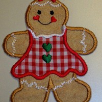Christmas gingerbread girl in red gingham dress iron on patch | UniqueEmbroideries - Seasonal on ArtFire