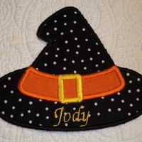 Halloween applique iron on patch witch hat large size 5 x 5 12 inches | UniqueEmbroideries - Seasonal on ArtFire