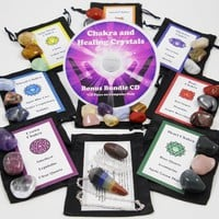 Ultimate 30 Stone Chakra Set with Crystal Healing Natural Mineral Tumbled Gemstones for All 7 Chakras. Includes 7 Stones Travel Set, Chakra Pendulum, Shiva Lingam, Clear Quartz Point, Satin Bags, Information Cards with Symbols and Bonus Cd. Uses: Metaphysi