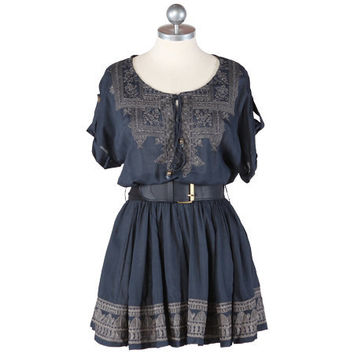 embroidered gardens navy tunic dress