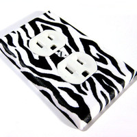 Outlet Cover Modern Children Decor Black and White Zebra by ModernSwitch