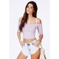 Missguided - Siena Bardot Crop Top In Lilac