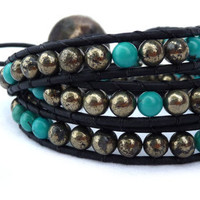 Pyrite and Turquoise leather wrap bracelet by Lobsterpirate