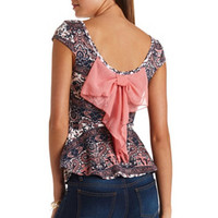 BOW-BACK PAISLEY PRINT PEPLUM TOP