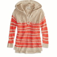 AEO Factory Women's Open Knit Sweater Hoodie