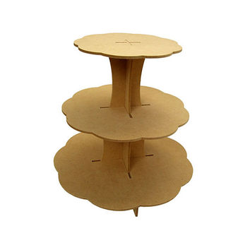 Wooden MDF Cupcake Stand / Flower shape / 3 Tiers /  Durable / Unfinished / for Decoupage projects / Celebrations Parties