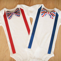 4th of July Baby Bodysuit 4th of july baby Patriotic clothing US flag  Red white and blue Baby tie Patriotic shirt stars and stripes tie