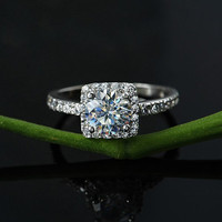 Matching ring-Platinum H&A 1 CT Diamond promise ring - Wedding Ring - Promise Ring - Personalized ring - halo engagement ring