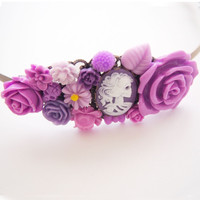 glamasaurus ♥Kawaii Cute Sweet Jewelry + Accessories ♥ — Purple Skeletina Cameo Cluster Headband