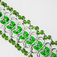 Green and Silver Chainmaille Bracelet with Beads and Rings - Lehane