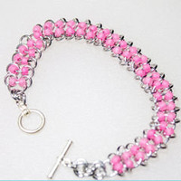 Pink Bracelet Silver Rings Chainmail Style - Lehane
