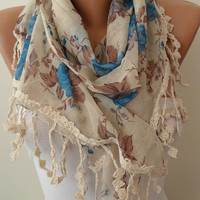 Beige Brown and Blue Scarf with Trim Edge by SwedishShop on Etsy