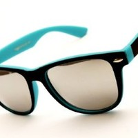 Two Tone Retro Wayfarer Mirrored Sunglasses
