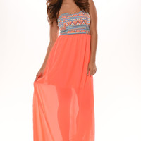 Aztec Chiffon Tube Maxi Dress - Neon Coral | Fashion Nova
