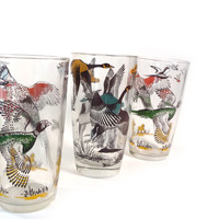 Vintage drinking glasses  pheasant and duck by reconstitutions